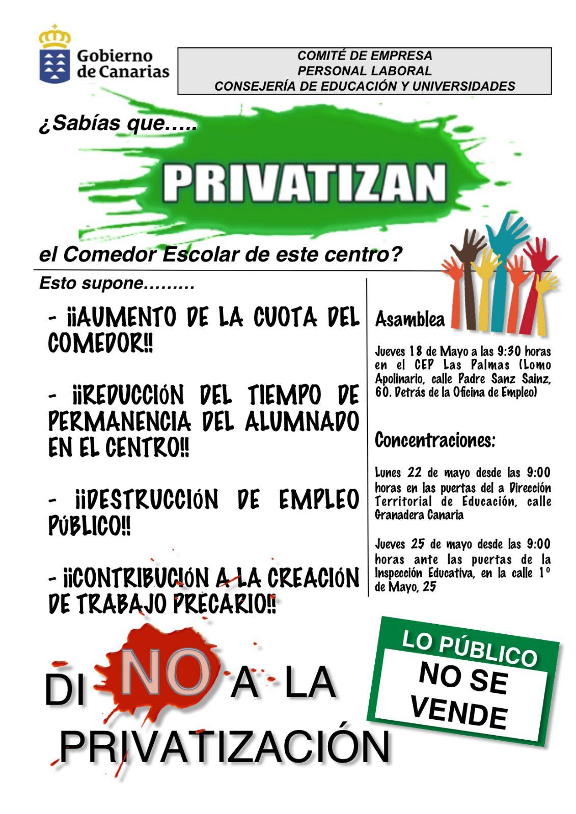 Movilizaciones contra privatizaci n de comedores escolares for Empresas comedores escolares